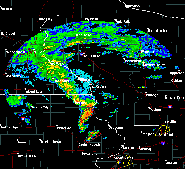 Radar Image for Severe Thunderstorms near Bagley, WI at 3/28/2020 7:32 PM CDT