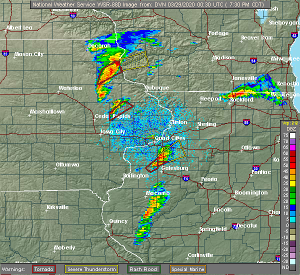 Radar Image for Severe Thunderstorms near Martelle, IA at 3/28/2020 7:34 PM CDT