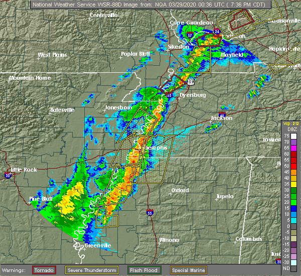Radar Image for Severe Thunderstorms near Senatobia, MS at 3/28/2020 7:40 PM CDT