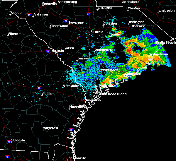 Radar Image for Severe Thunderstorms near Edisto Beach, SC at 6/25/2015 1:37 AM EDT
