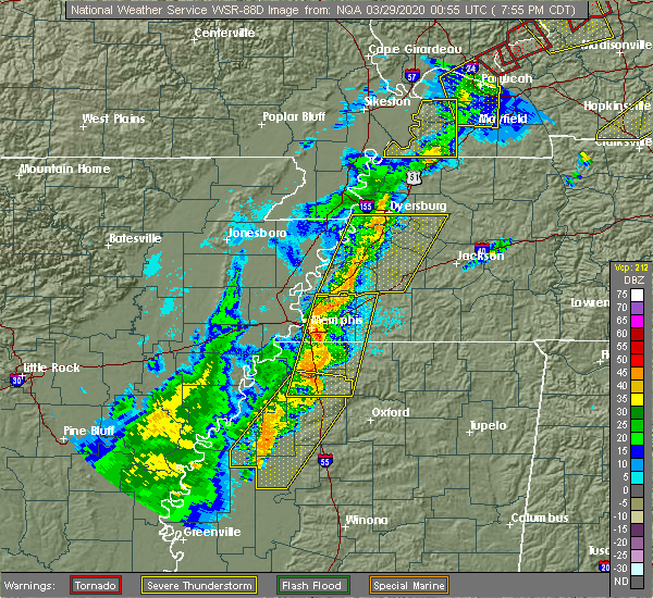 Radar Image for Severe Thunderstorms near Collierville, TN at 3/28/2020 8:01 PM CDT