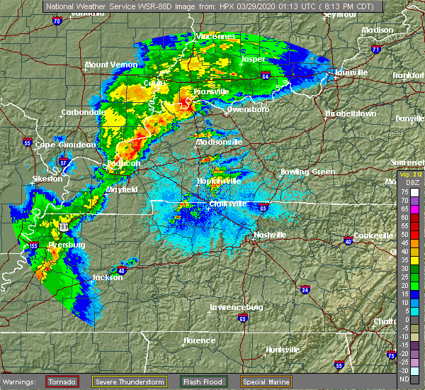 Radar Image for Severe Thunderstorms near Clarksville, TN at 3/28/2020 8:15 PM CDT