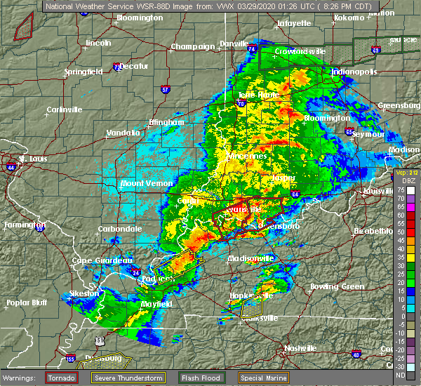 Radar Image for Severe Thunderstorms near Dixon, KY at 3/28/2020 8:30 PM CDT