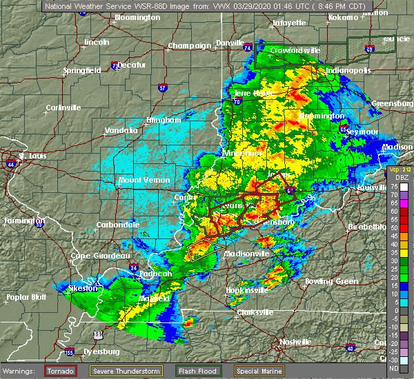 Radar Image for Severe Thunderstorms near Tennyson, IN at 3/28/2020 8:49 PM CDT