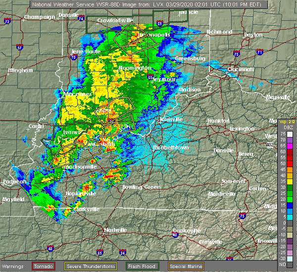 Radar Image for Severe Thunderstorms near Milltown, IN at 3/28/2020 10:05 PM EDT