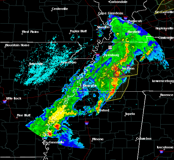 Radar Image for Severe Thunderstorms near Saulsbury, TN at 3/28/2020 9:12 PM CDT