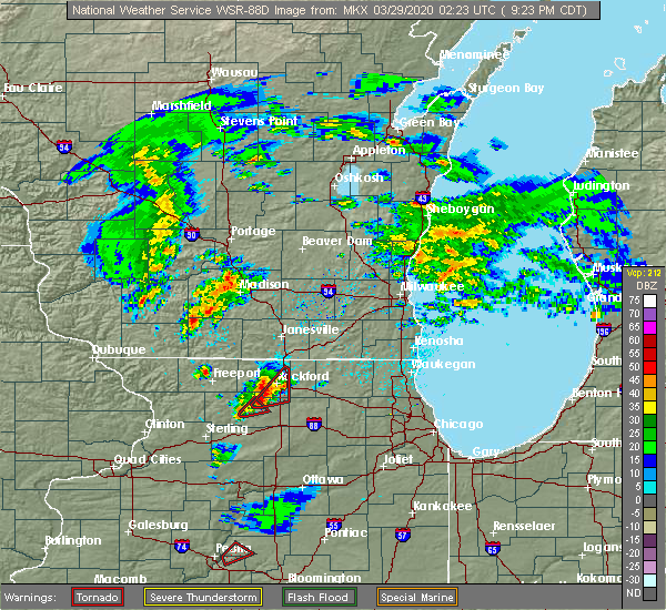 Radar Image for Severe Thunderstorms near New Milford, IL at 3/28/2020 9:26 PM CDT