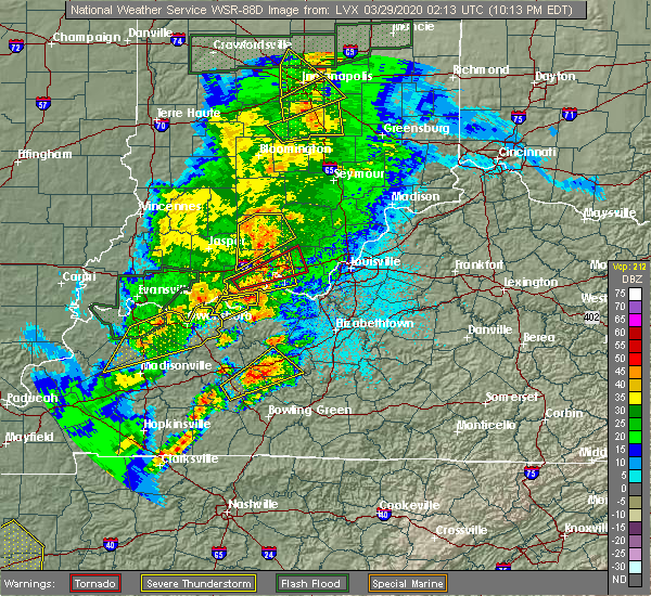 Radar Image for Severe Thunderstorms near New Pekin, IN at 3/28/2020 10:37 PM EDT