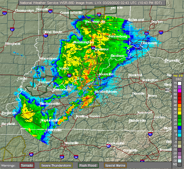 Radar Image for Severe Thunderstorms near New Middletown, IN at 3/28/2020 10:47 PM EDT