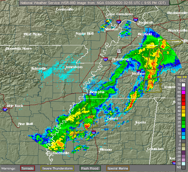 Radar Image for Severe Thunderstorms near Batesville, MS at 3/28/2020 10:00 PM CDT