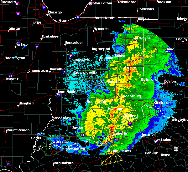 Radar Image for Severe Thunderstorms near Lynn, IN at 3/28/2020 11:07 PM EDT
