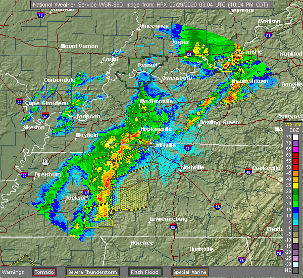 Radar Image for Severe Thunderstorms near Clarksville, TN at 3/28/2020 10:08 PM CDT