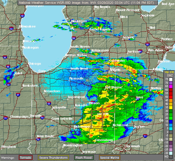 Radar Image for Severe Thunderstorms near Redkey, IN at 3/28/2020 11:09 PM EDT