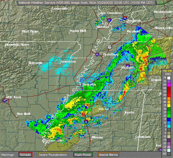 Radar Image for Severe Thunderstorms near Batesville, MS at 3/28/2020 10:11 PM CDT