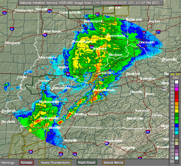 Radar Image for Severe Thunderstorms near Sonora, KY at 3/28/2020 11:21 PM EDT