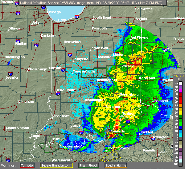 Radar Image for Severe Thunderstorms near New Castle, IN at 3/28/2020 11:22 PM EDT