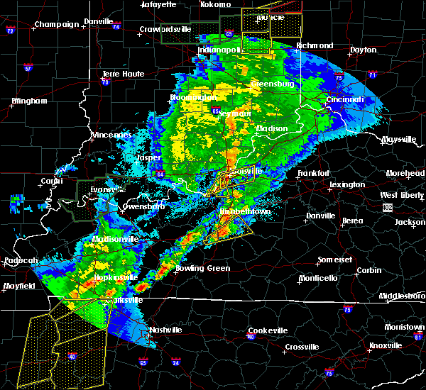 Radar Image for Severe Thunderstorms near Worthington Hills, KY at 3/28/2020 11:23 PM EDT