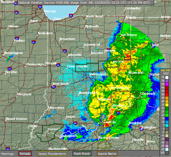 Radar Image for Severe Thunderstorms near Lynn, IN at 3/28/2020 11:30 PM EDT