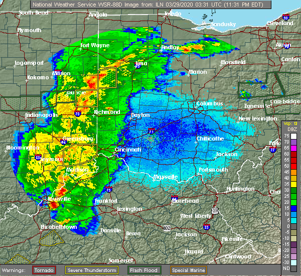 Radar Image for Severe Thunderstorms near Lawrenceburg, IN at 3/28/2020 11:35 PM EDT