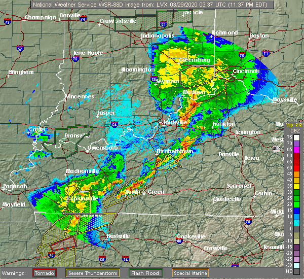 Radar Image for Severe Thunderstorms near Dry Ridge, KY at 3/28/2020 11:41 PM EDT
