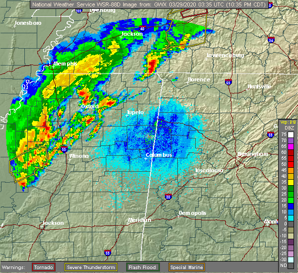Radar Image for Severe Thunderstorms near Rienzi, MS at 3/28/2020 10:43 PM CDT