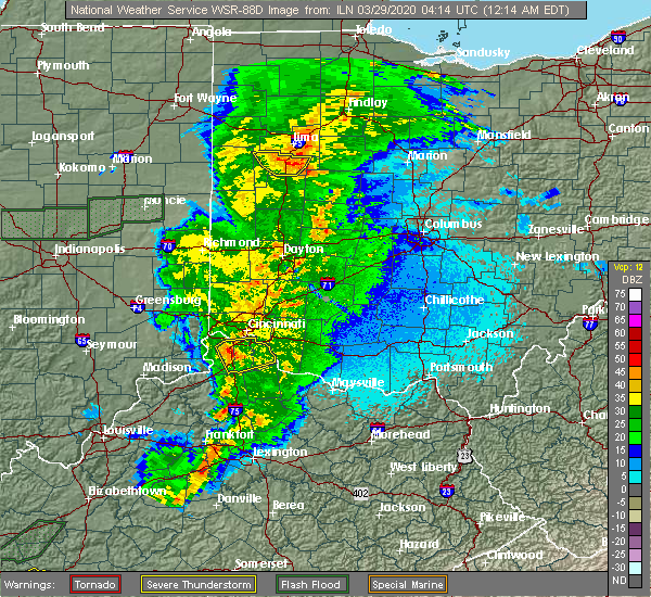 Radar Image for Severe Thunderstorms near Patterson, OH at 3/29/2020 12:22 AM EDT