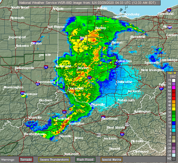 Radar Image for Severe Thunderstorms near Patterson, OH at 3/29/2020 12:39 AM EDT