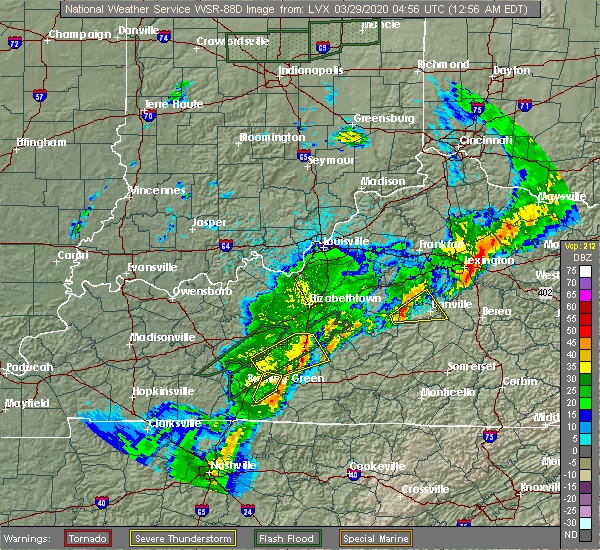 Radar Image for Severe Thunderstorms near Horse Cave, KY at 3/28/2020 11:59 PM CDT