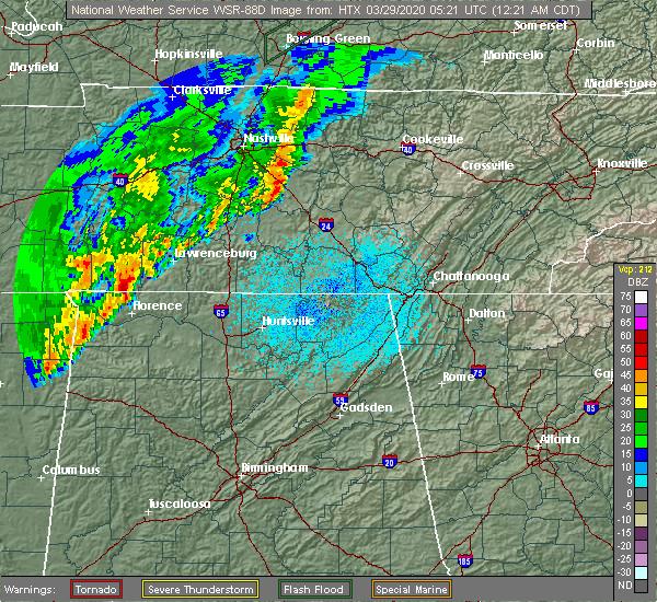 Radar Image for Severe Thunderstorms near Lawrenceburg, TN at 3/29/2020 12:24 AM CDT