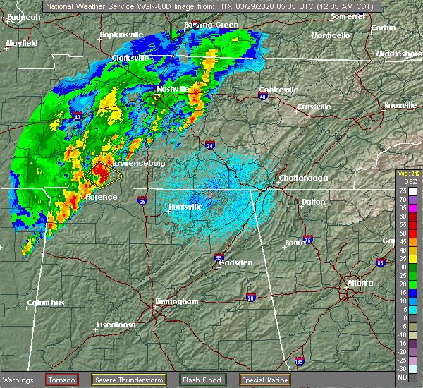 Radar Image for Severe Thunderstorms near Lawrenceburg, TN at 3/29/2020 12:37 AM CDT