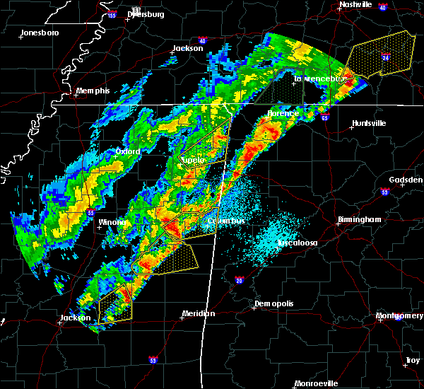 Radar Image for Severe Thunderstorms near Mississippi State, MS at 3/29/2020 1:34 AM CDT
