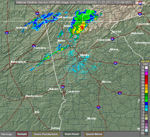 Radar Image for Severe Thunderstorms near Morganton, GA at 3/29/2020 7:37 AM EDT