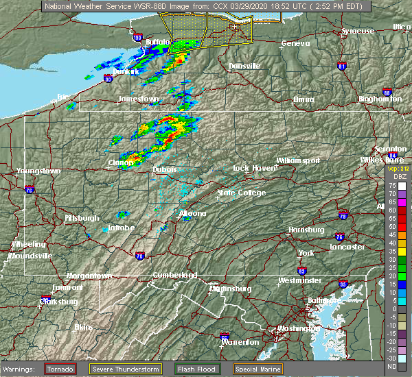 Radar Image for Severe Thunderstorms near Roulette, PA at 3/29/2020 3:00 PM EDT