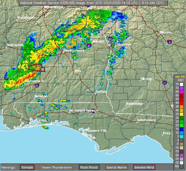 Radar Image for Severe Thunderstorms near Monroeville, AL at 3/31/2020 9:23 AM CDT