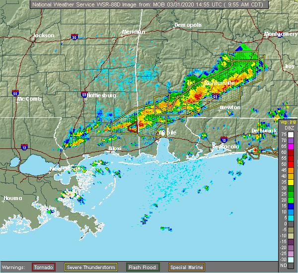 Radar Image for Severe Thunderstorms near Georgiana, AL at 3/31/2020 10:00 AM CDT