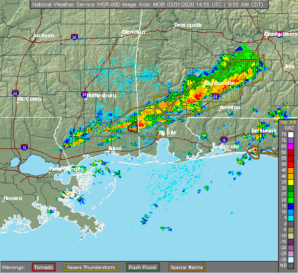 Radar Image for Severe Thunderstorms near Spanish Fort, AL at 3/31/2020 10:01 AM CDT