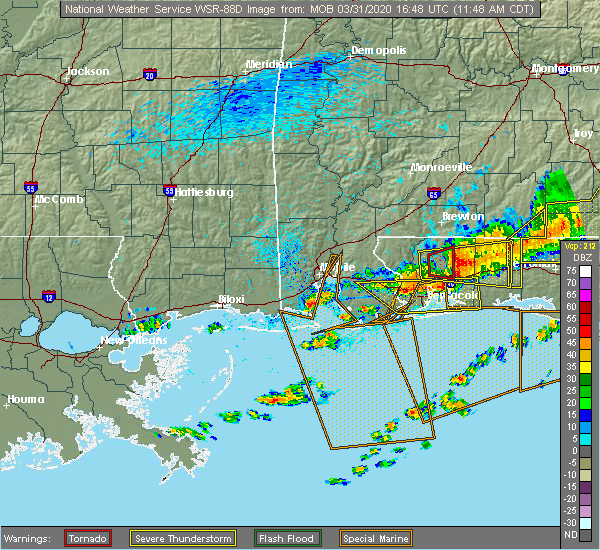 Radar Image for Severe Thunderstorms near Midway, FL at 3/31/2020 11:57 AM CDT