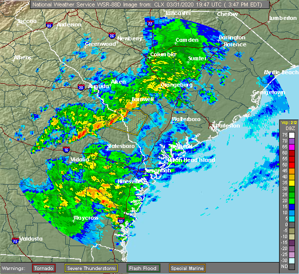 Radar Image for Severe Thunderstorms near Fairfax, SC at 3/31/2020 3:54 PM EDT