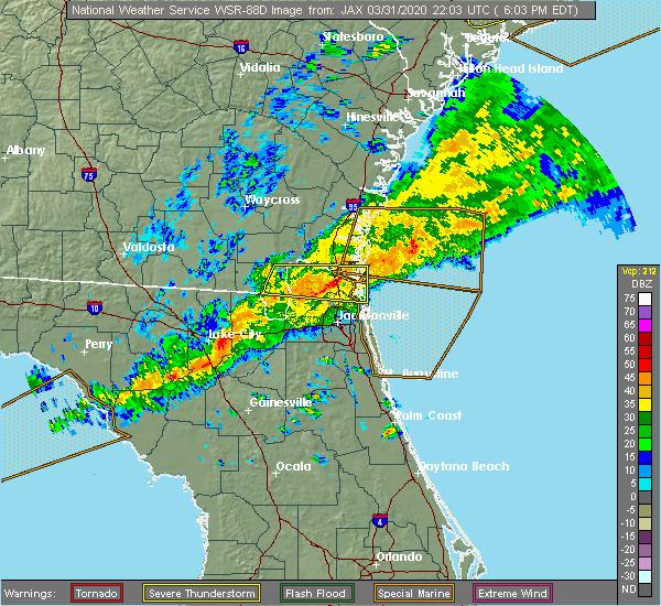 Radar Image for Severe Thunderstorms near Jacksonville, FL at 3/31/2020 6:06 PM EDT