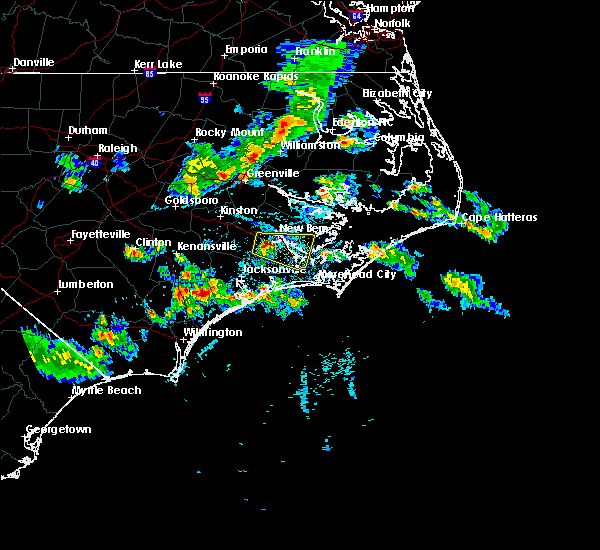 Radar Image for Severe Thunderstorms near Minnesott Beach, NC at 4/6/2020 5:46 PM EDT
