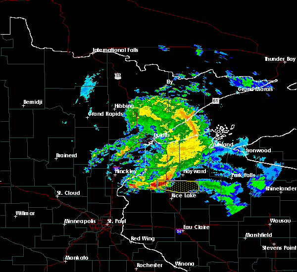 Radar Image for Severe Thunderstorms near Spooner, WI at 4/7/2020 8:33 AM CDT