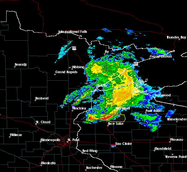 Radar Image for Severe Thunderstorms near Spooner, WI at 4/7/2020 8:48 AM CDT