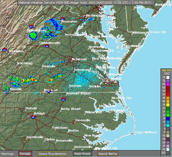 Radar Image for Severe Thunderstorms near Brodnax, VA at 4/7/2020 2:03 PM EDT