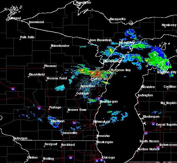 Radar Image for Severe Thunderstorms near Abrams, WI at 4/7/2020 2:55 PM CDT