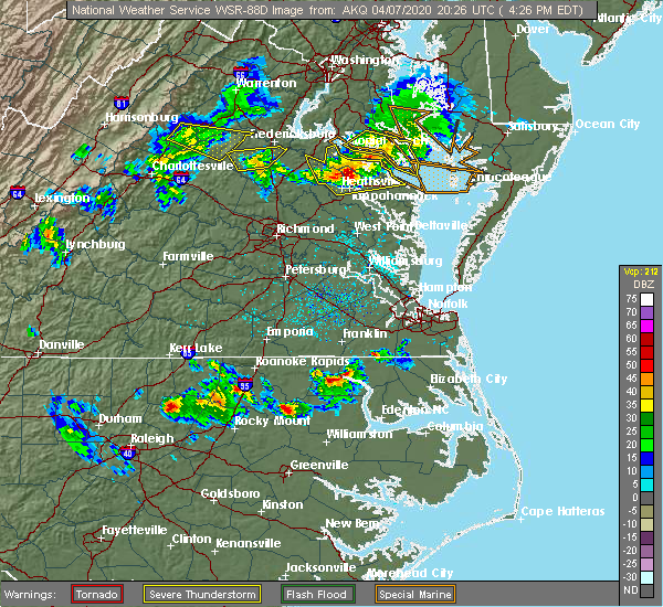 Radar Image for Severe Thunderstorms near Murfreesboro, NC at 4/7/2020 4:30 PM EDT
