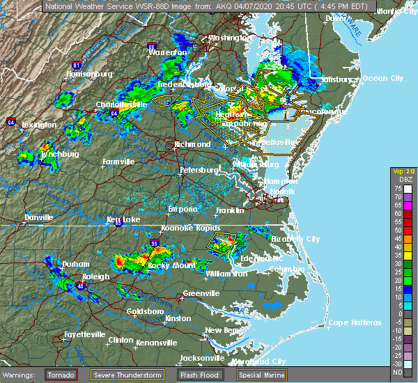 Radar Image for Severe Thunderstorms near Winton, NC at 4/7/2020 4:46 PM EDT