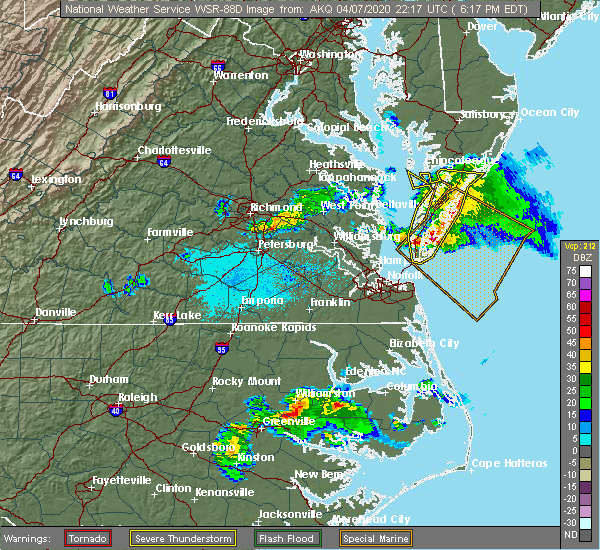 Radar Image for Severe Thunderstorms near Belle Haven, VA at 4/7/2020 6:26 PM EDT