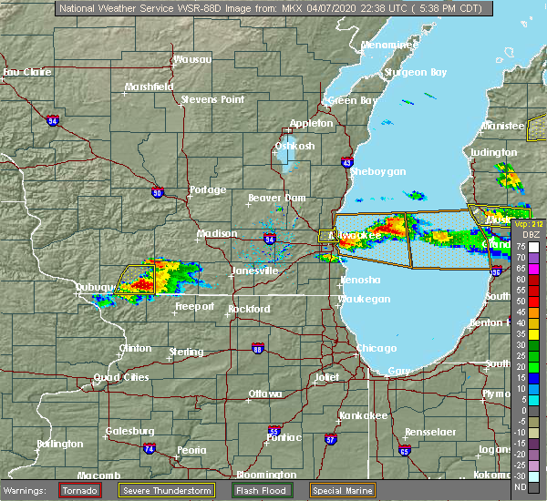 Radar Image for Severe Thunderstorms near Brodhead, WI at 4/7/2020 5:43 PM CDT