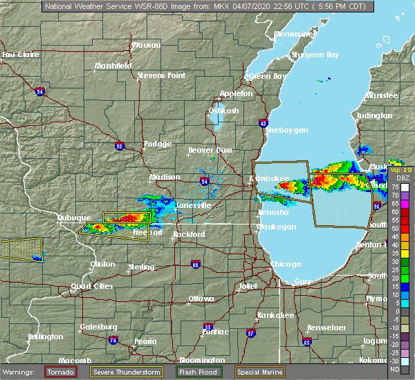 Radar Image for Severe Thunderstorms near Brodhead, WI at 4/7/2020 6:04 PM CDT