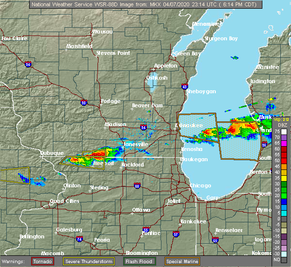 Radar Image for Severe Thunderstorms near Brodhead, WI at 4/7/2020 6:19 PM CDT